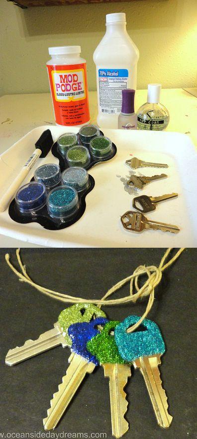 craft key diy glitter